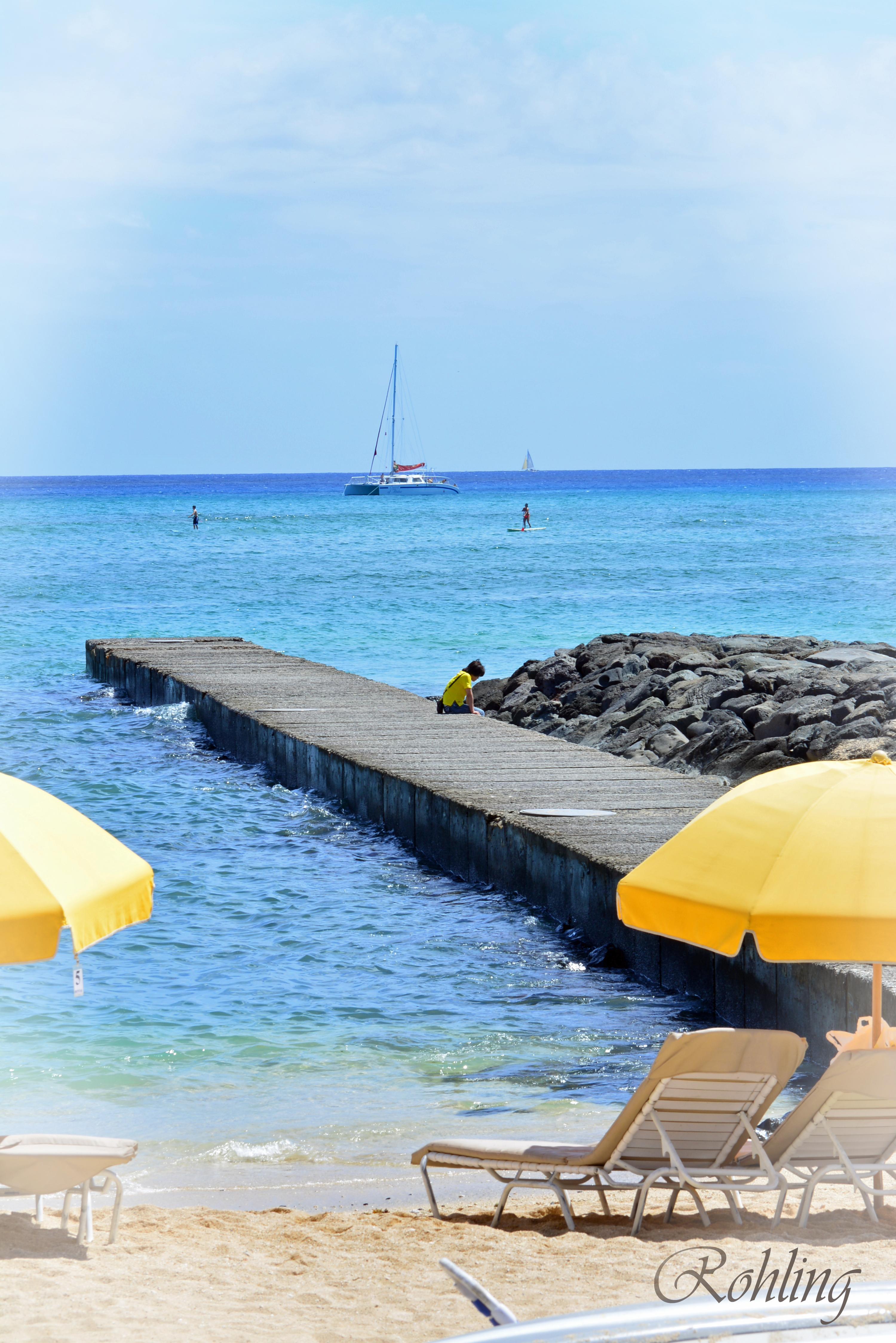 Enjoying beach solitude