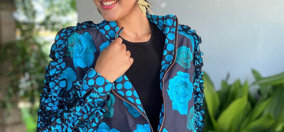 Bomber - Flores en azul