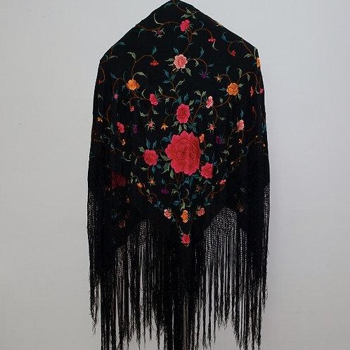 Mantón Negro Rosas fucsias