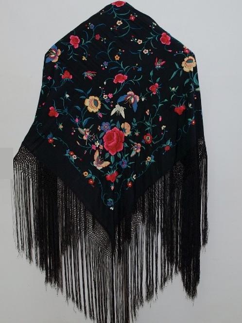 Mantón Negro rosa fucsia mariposa mediano