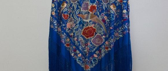Mantón Azul Klein Aves y Flores