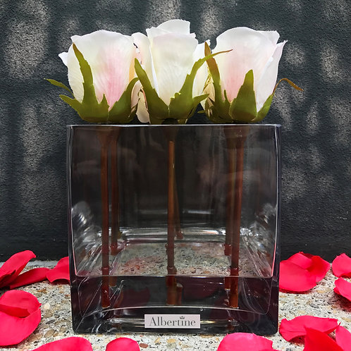 Square vase Rose bud - White