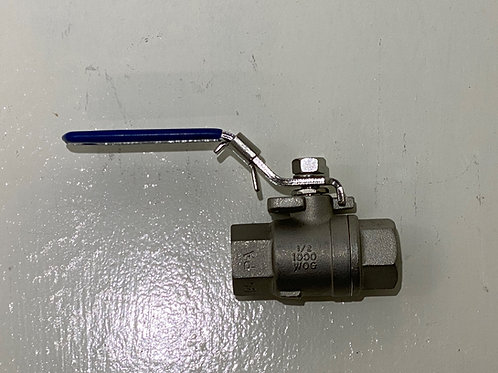 "BV-007 - 1/2"" BSP Stainless Steel 2-piece full bore ball valve"