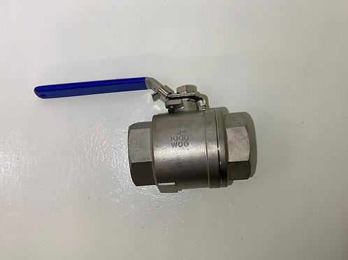 """BV-010 - 2"""" BSP Stainless Steel 2-piece full bore ball valve"""