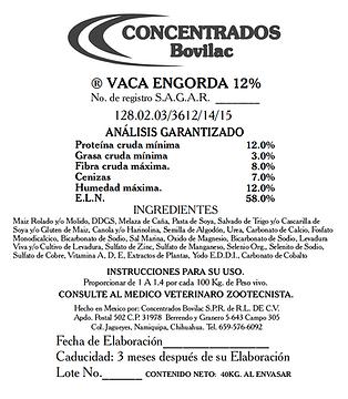 Vaca Engorda 12% Bovilac