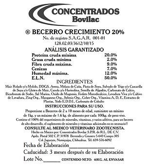 Becerro Crecimiento 20% Bovilac