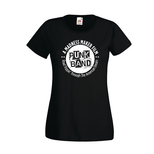 "WOMENS MMF ""PUNK BAND"" FITTED BLACK T-SHIRT"
