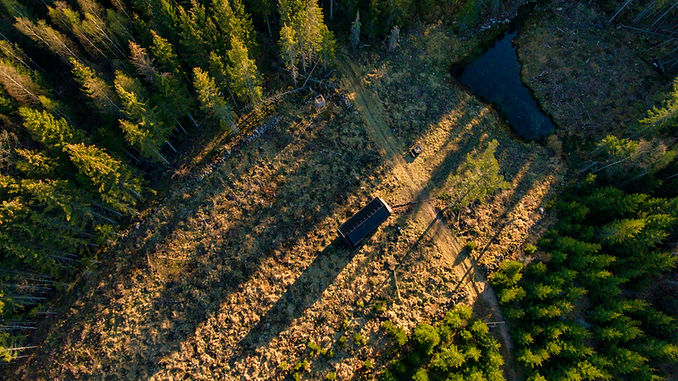 Tiny house in forest aerial view