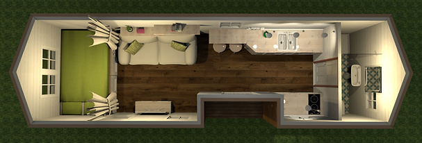 Förslag på planlösning för Tiny House 3,5 ton
