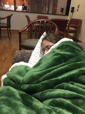 Kristen Sleeping During End of Palmer's Surgery