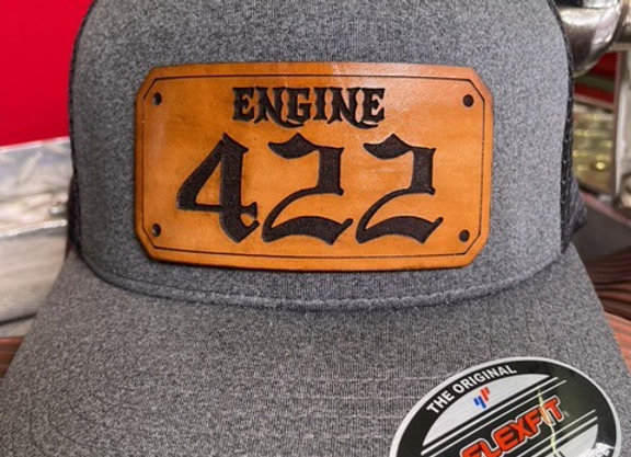 Single Text With Number Leather Shield Insert Hat
