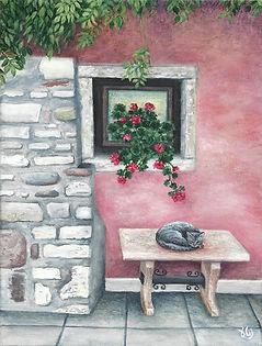 ציור של חתול יושב על ספסל קטן לצד קיר לבנים