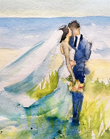 Bride & Groom, Live Wedding Painting, on Beach