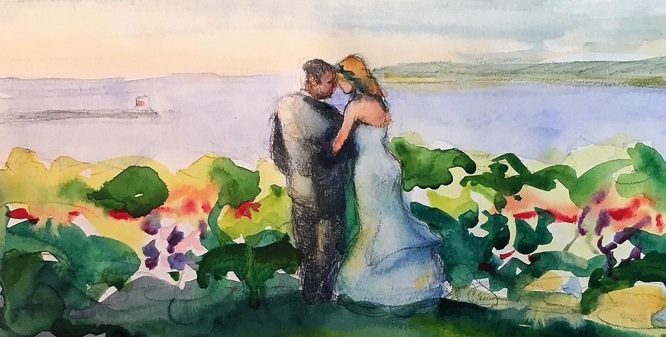 Bride & Groom Painting by Water