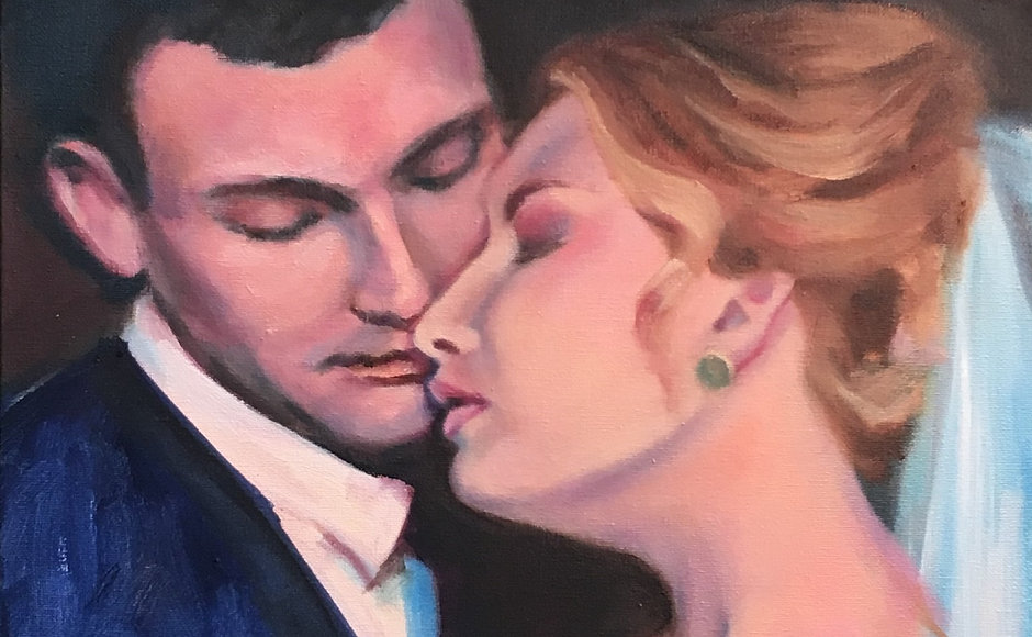 Bride & Groom Wedding Portrait Painting