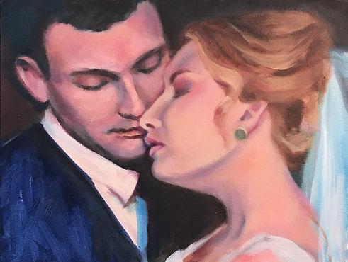 Bride & Groom Wedding Portrait, Patrick Wise, Live Wedding Artist