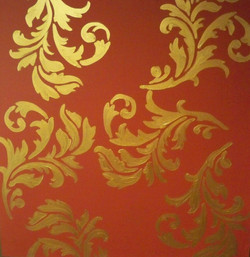 Murals By Marg Hand Painted Wallpaper gold and red.JPG