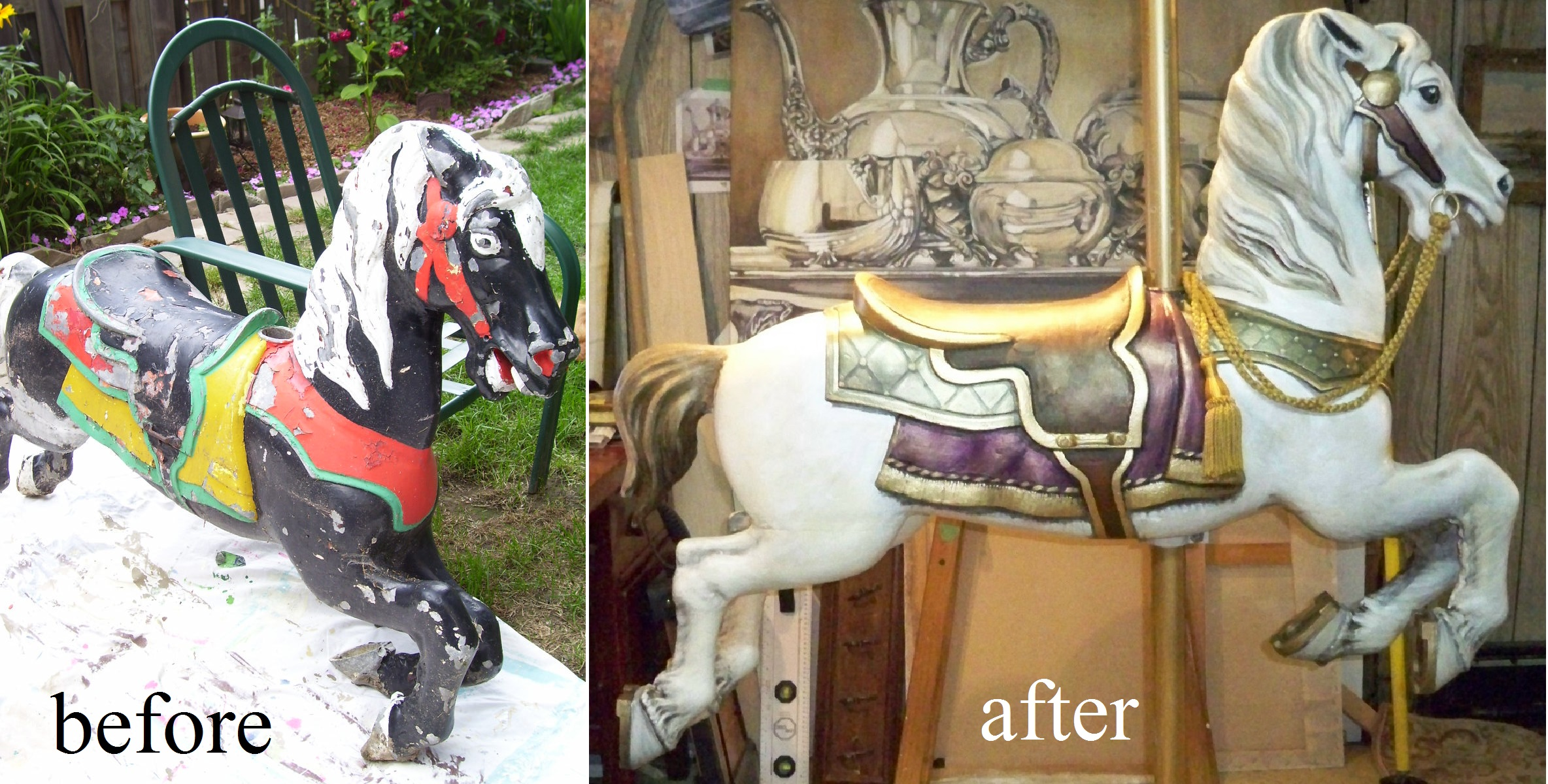 Murals By Marg Carousel Horse before and after.jpg