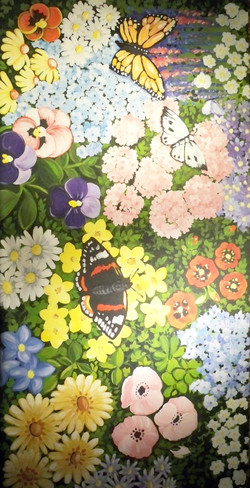Murals By Marg Hand Painted Flowers Floorcloth.JPG
