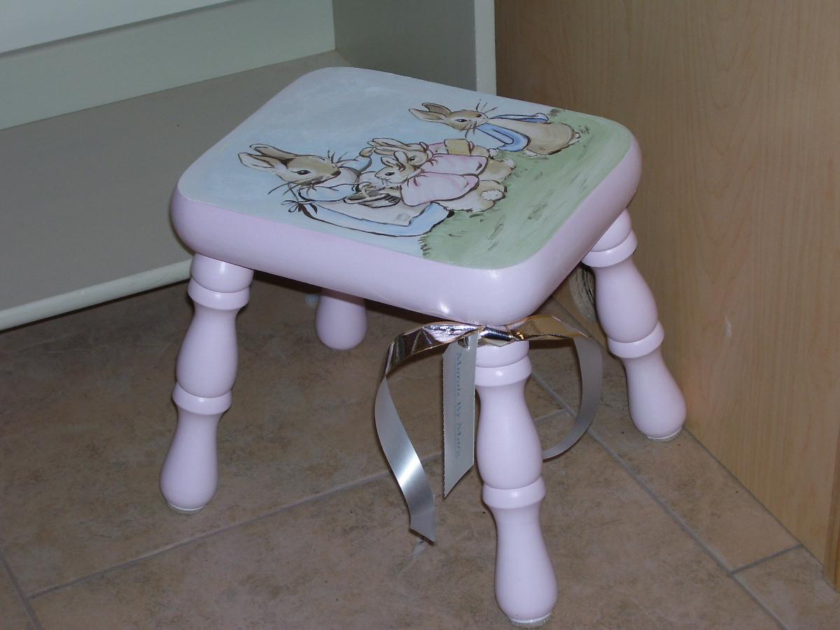Murals By Marg hand painted furniture Peter Rabbit stool 2.JPG