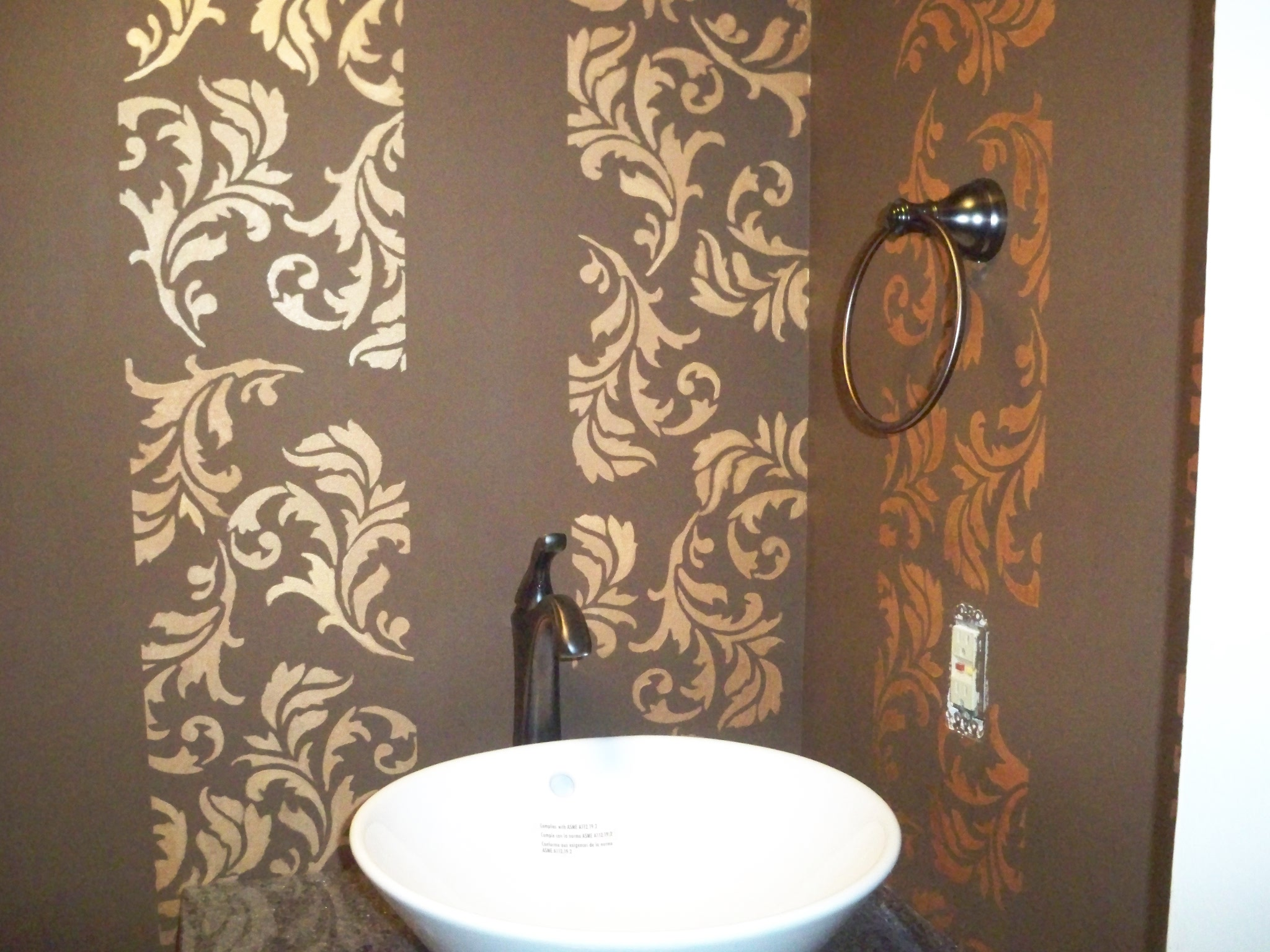 Murals By Marg Hand painted wallpaper powder room gold 1.JPG