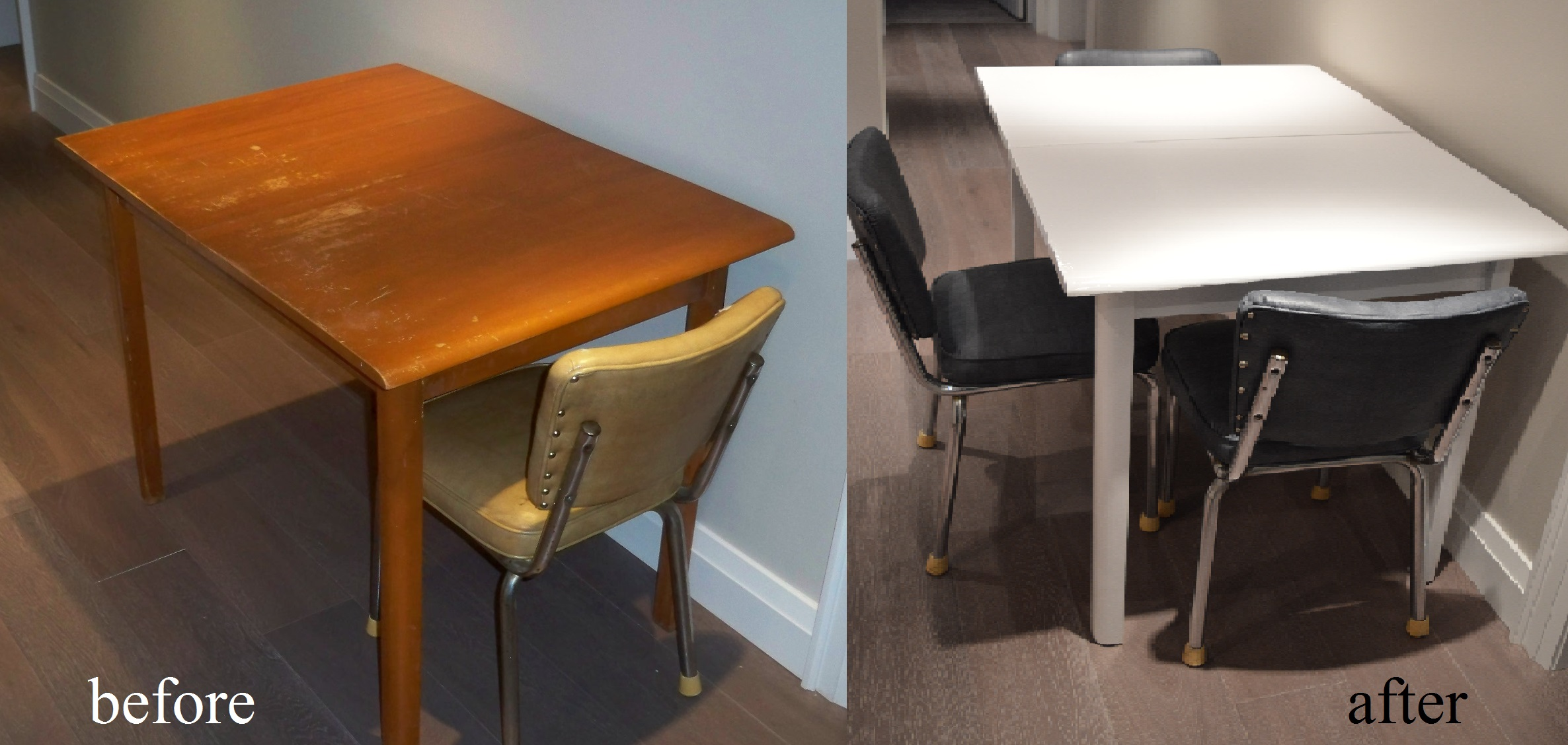 Murals By Marg repainted table before and after