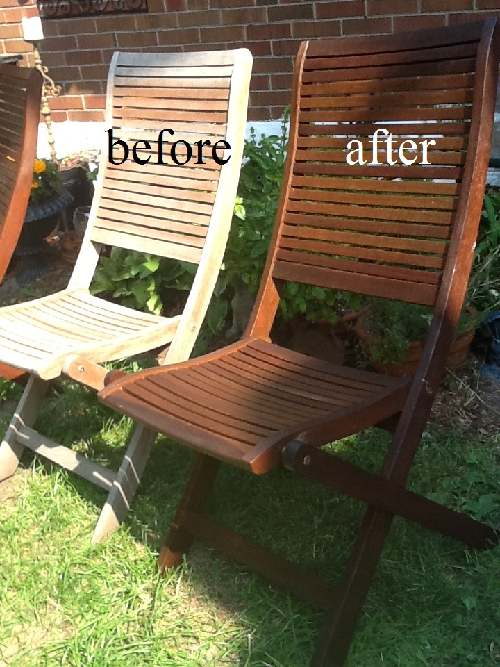 Murals By Marg Stained Outdoor furniture before and after.JPG