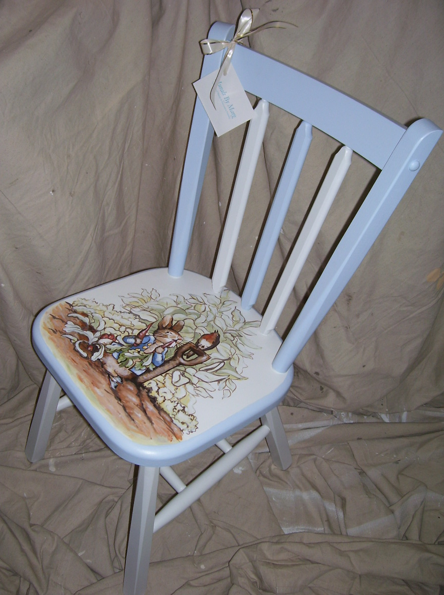 Murals By Marg Hand Painted Furniture Peter Rabbit Chair.JPG