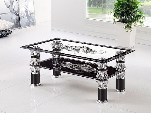 Glass Flower Pattern Coffee Table