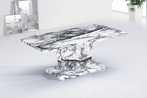 White Marble Effect Coffee Table With Pedestal Base