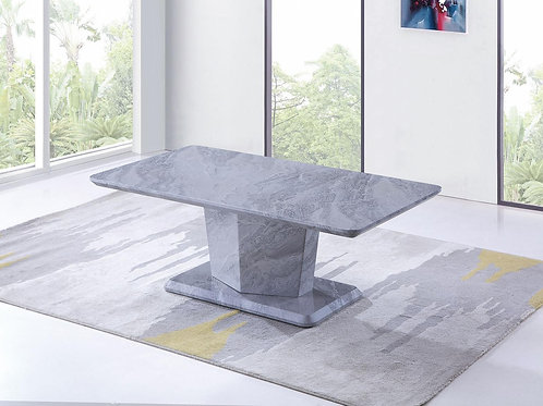 Silver/Grey Marble Effect Coffee Table With Pedestal Base