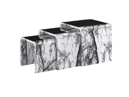 White Marble Effect Nest of Table