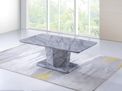 Dark Grey Marble Effect Coffee Table With Pedestal Base