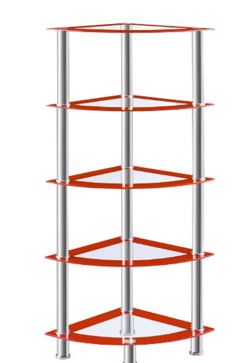 5 Tier Red Corner Shelf