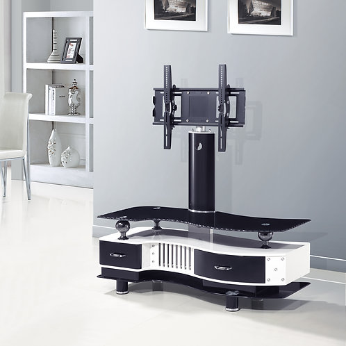 S Style TV Stand 2 Drawer White/Black