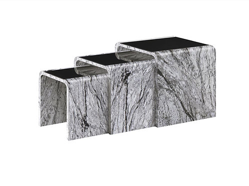 Grey Marble Effect Nest of Table