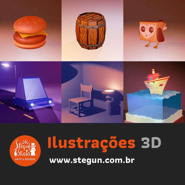 Ilustrações 3D estilo lowpoly