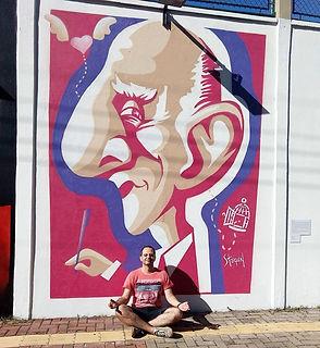 Graffiti realizado em muro do SESC Campinas-SP. Caricatura de Rubem Alves por Renato Stegun.