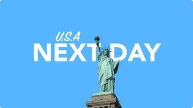 Morgen in Amerika per overnight Kurier