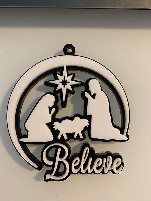 Believe Nativity Ornament.