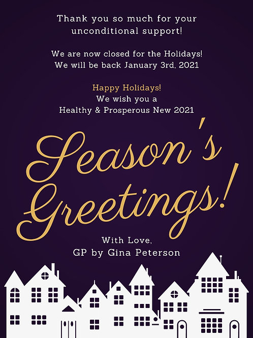 We are Close for the Holidays!