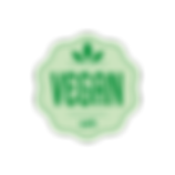 Vegan symbol on organic vegan lip balm for sale page.