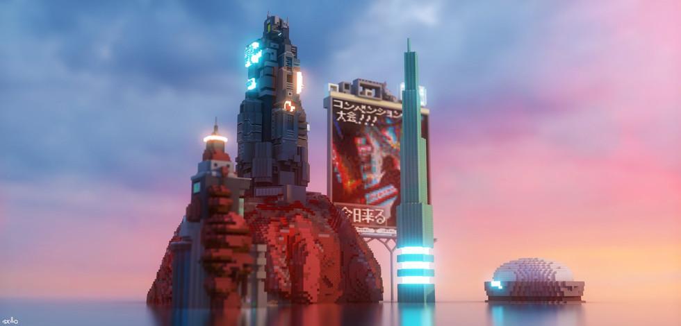 Cyberpunk City in Water