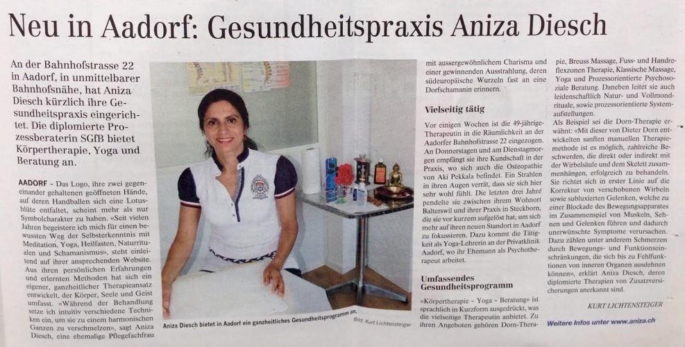 Inserat in der Elgger-Aadorfer Zeitung