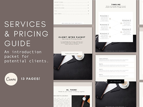 CLIENT INTRODUCTION PACKET - SERVICES & PRICING GUIDE
