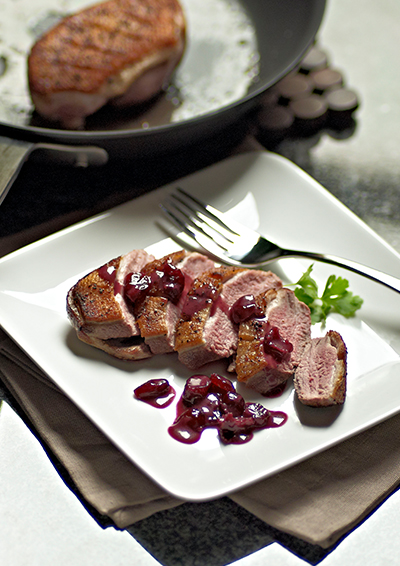 Seared Duck Breast with Cherry-Cranb