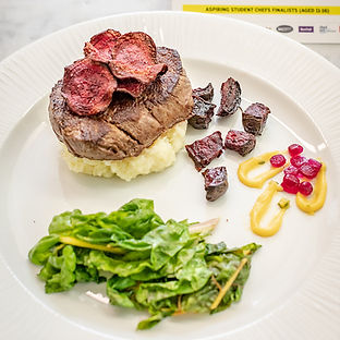 Medallions of Beef Fillet on Parsnip & Horseradish Mash served with a Trio of Beetroot, Wilted Swiss Chard & a Thyme Bernaise Sauce