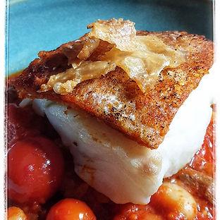 Roasted Ndjua Crusted Cod, with Bean stew