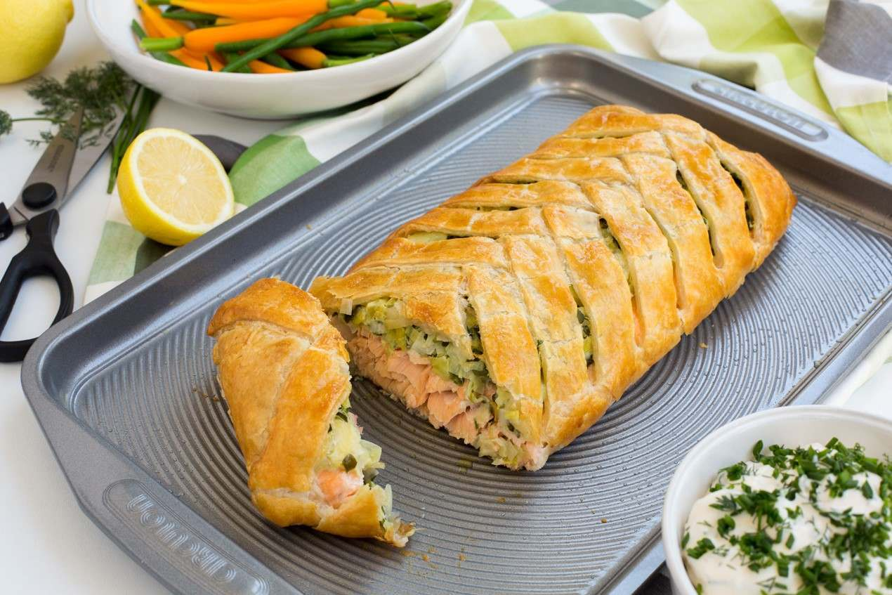 Salmon En Croute with Herb Mayonnais
