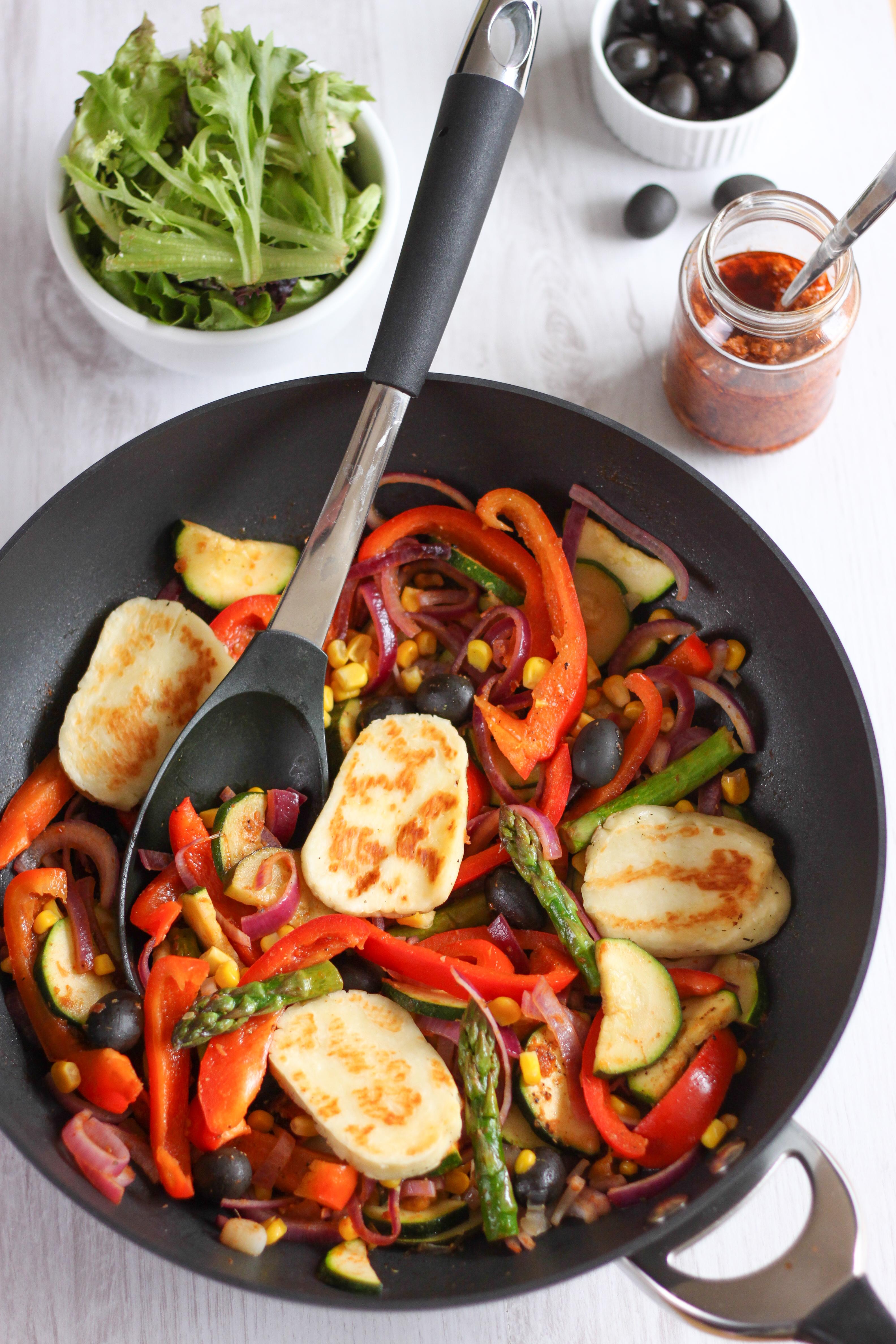 Mediterranean Stir Fry with Halloumi